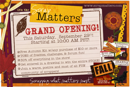 ScrapMatters Grand Opening on Saturday! AD