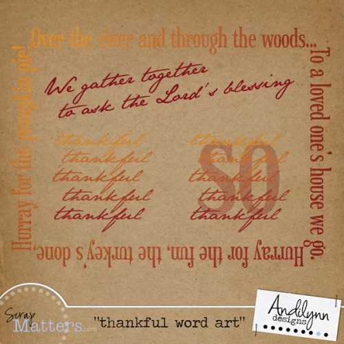 Thankful Word Art--Free for a limited time.
