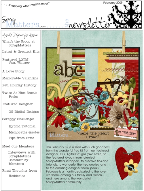 ScrapMatters' February 2009 Newsletter