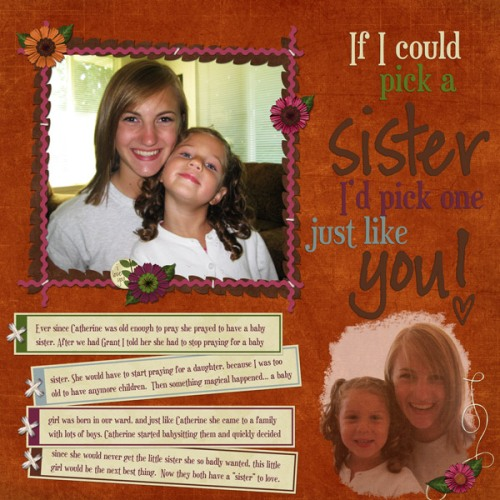 A Sister Just Like You digiscrap layout by Shari using Fall Frolic by Andilynn Designs